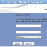 LSI MegaRaid Storage Manager Login screen