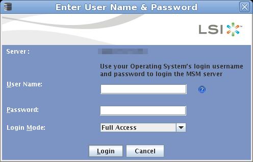 LSI MegaRaid Storage Manager Login screen